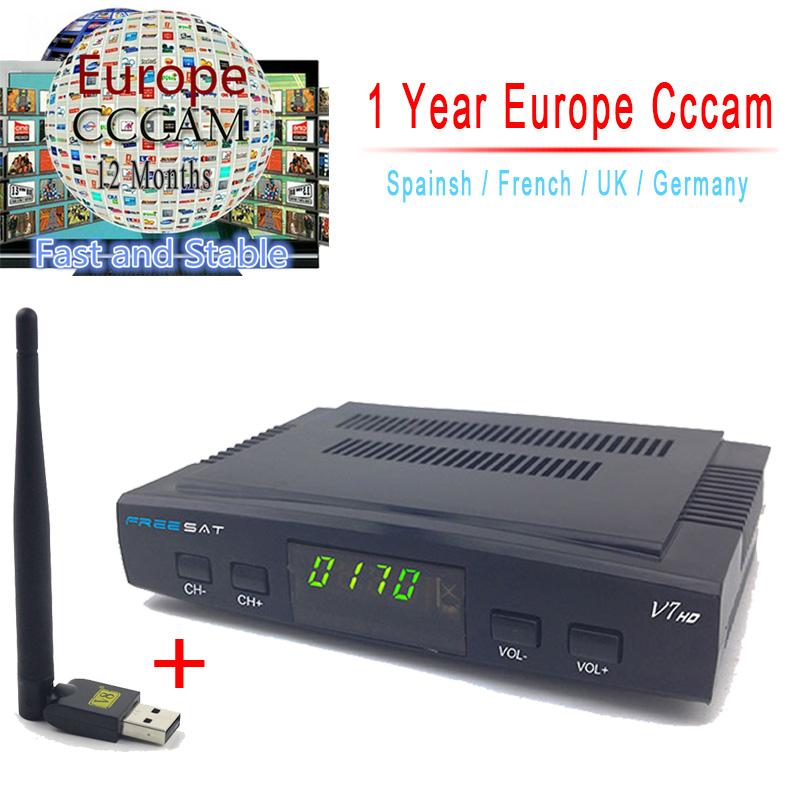 Prix pour 1 Année Cccam Serveur Freesat V7 Récepteur Satellite + Usb WiFi Spport DVB-S2 ccam PowerVu YouTube Full 1080 P Europe Cccam Cline HD