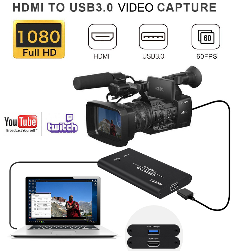 HDMI TO USB 3.0 Capture Video Card Broadcast Live Streaming And Record Full HD 1080P For PS4 Phone TV BOX Game Grabber Converter
