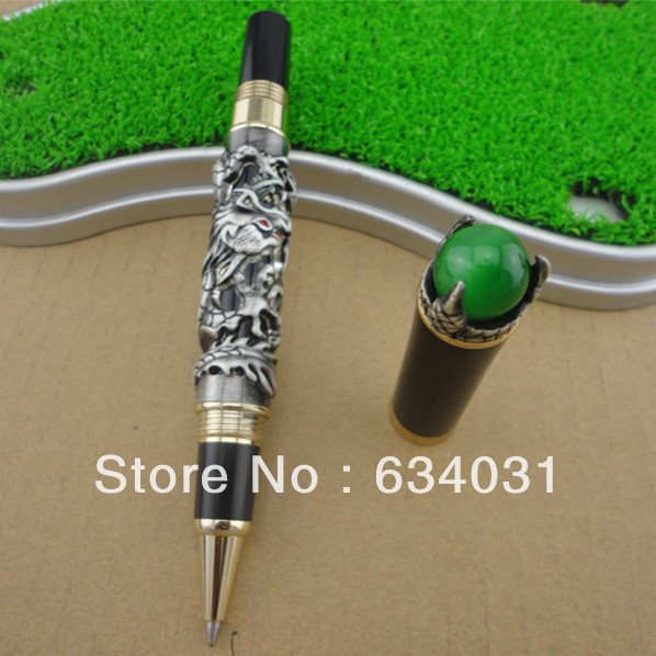 цена Retro Culture Jinhao Rollerball Pen Silver Dragon King Play Pearl Pattern Pen