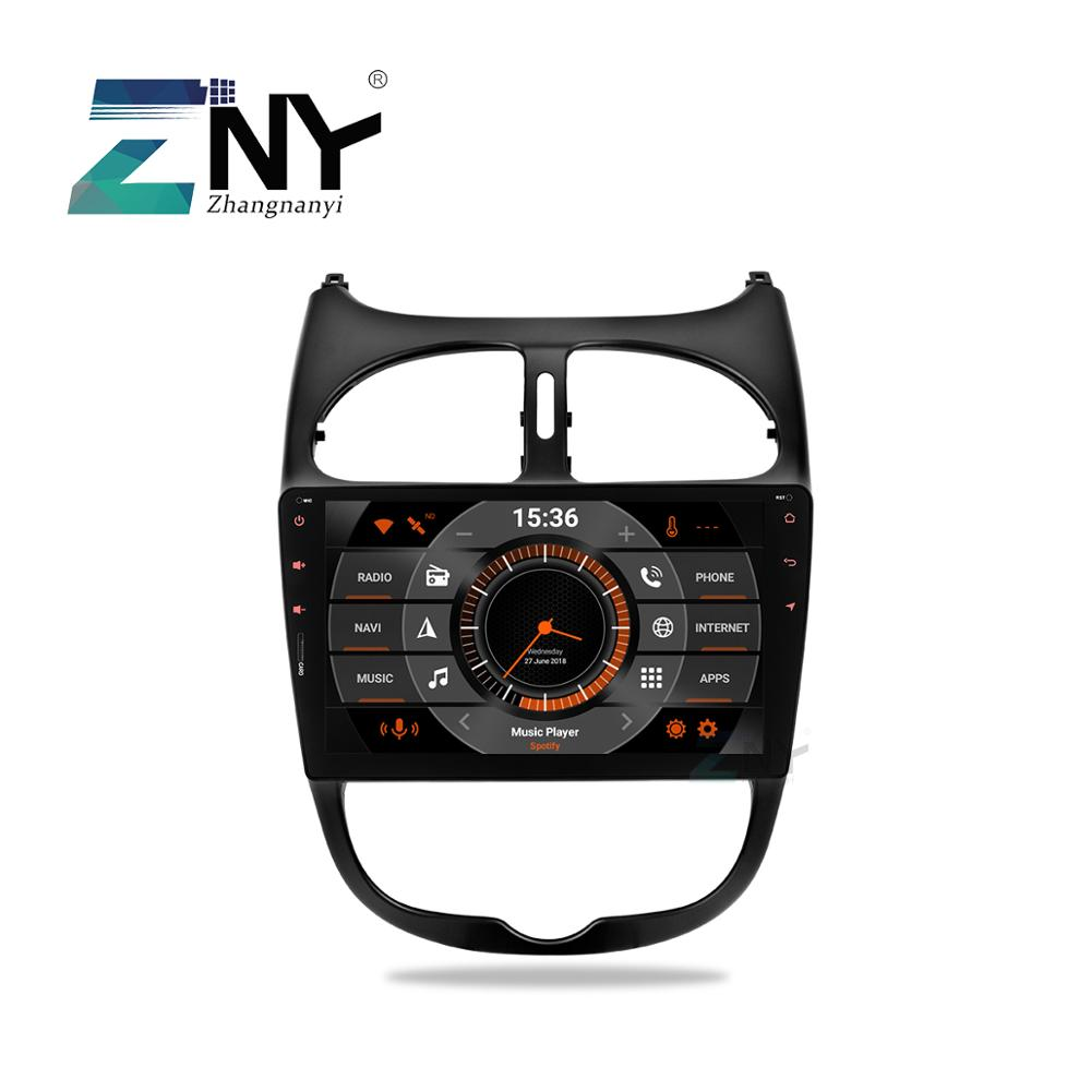 9 HD Android 9.0 Car Stereo GPS For Peugeot 206 Auto Radio FM RDS WiFi Audio Video Headunit Navigation Reverse Camera No DVD