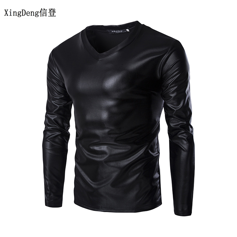 XingDeng 2018 Leather Sexy DJ Bar TOPS And Show Nightclub Clothing Men's Large Size Round Collar T-shirt Men Tees Spring Clothes