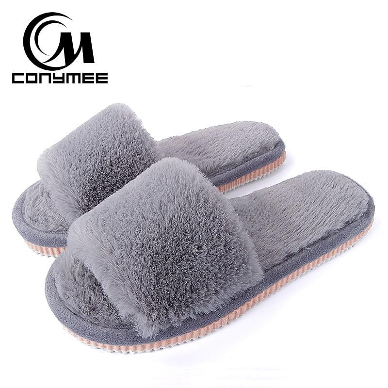 2019 Womens Fur Slippers Winter Shoes Big Size Home Slippers Plush Pantufa Women Indoor Warm Fluffy Terlik Cotton Shoes ZJ-MM