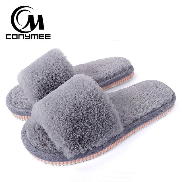 92ecbfeb 2018 Zapatillas de piel para mujer zapatos de invierno de gran tamaño  Zapatillas de casa de