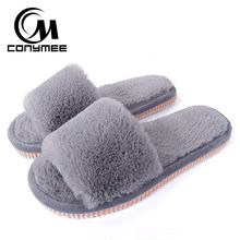 2019 Womens Fur Slippers Winter Shoes Big Size Home Slippers Plush Pantufa Women Indoor Warm Fluffy Terlik Cotton Shoes ZJ-MM(China)