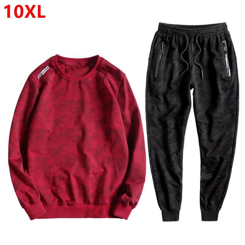 Autumn Men's Sweater Camouflage Sets 9XL 10XL Casual Plus Fertilizer XL Cotton Turtleneck Youth Jacket  Tide Men's Suit