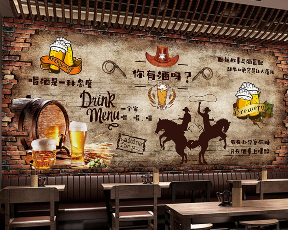 Free Shipping Vintage Brick Wall Beer Bar Restaurant Background Wall Fried Chicken Store Mural Cheap Custom 3D Wallpaper image