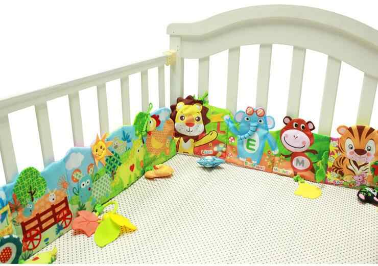 Baby bed Mobile Cloth Book Crib Bed Bumpers Around Soft Plush Early Educational Cot Book Toys animal baby bed toy  20% off