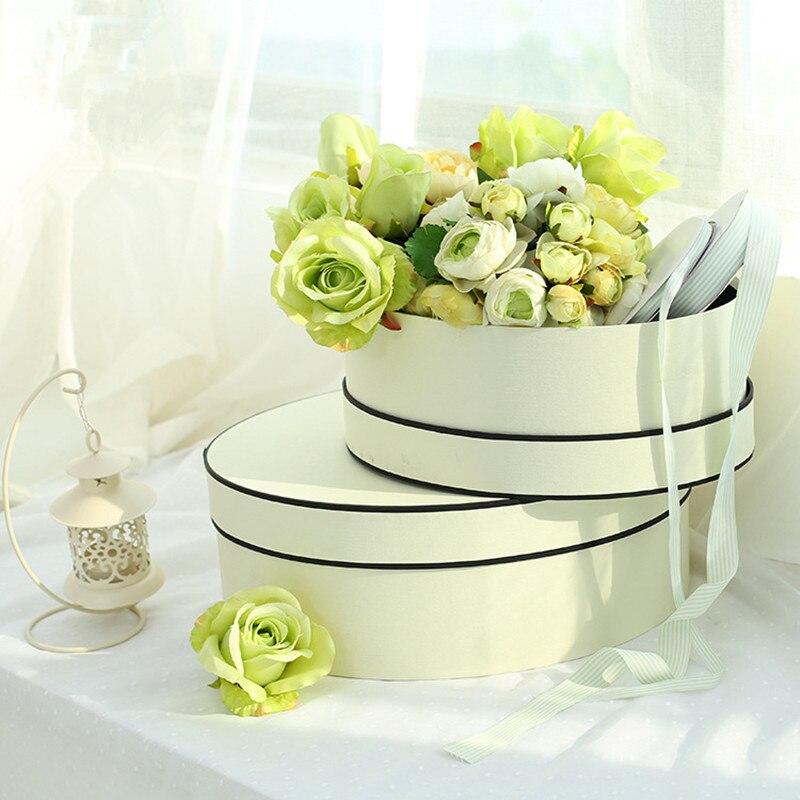 8 pièces boîte d'arrangement de fleurs avec couvercle seau fleuriste Bouquet boîtes en papier baril cadeau emballage saint valentin mariage Rose boîte