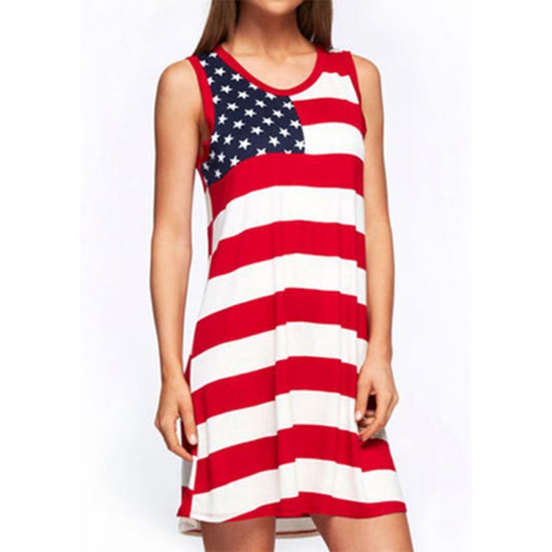 9fb68296a40d American Flag Print Patriotic Racerback Tank Dress Women Sleeveless ...