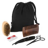 Beard Care Set Style Men Comb Brush Scissors Kit Modeling Cleaning Repair Set + Canvas Bag
