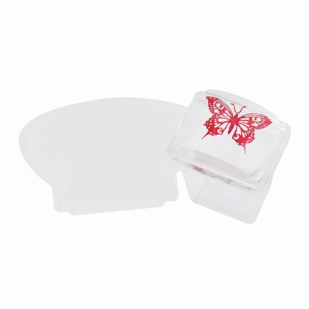 Biutee 2 ชิ้น 2 ขนาดเยลลี่ Stamper กับหมวก + Scraper Nail Art ซิลิโคน Marshmallow Stamper เล็บ Stamper