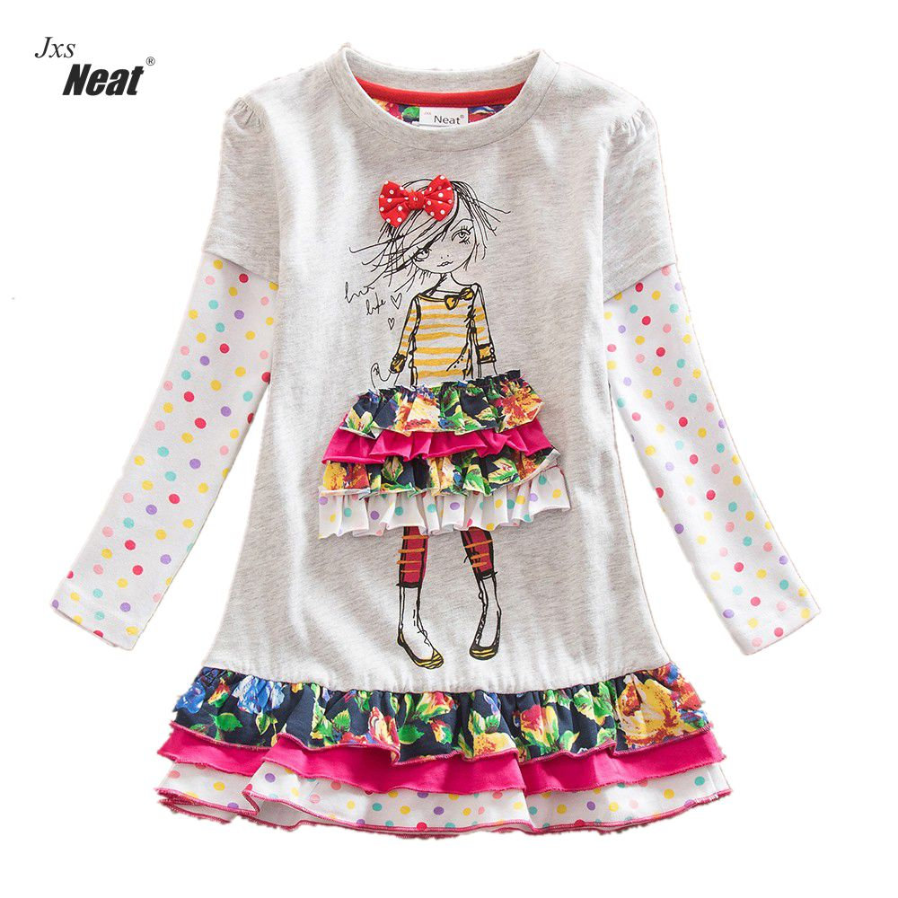 Neat Retail Baby girl clothes Lovely dresses kids clothes girl party dress long sleeve  girl clothes vestidos infantil LH3660 4 8y retail dress for girls baby girl children tutu dresses princess party dresses vestidos kids girls clothes neat sh5460 mix