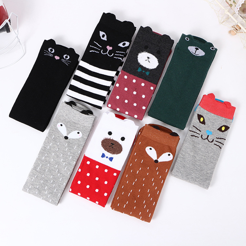 Children Lovely Socks Anime Cute Cat Bear Animals Pattern Knee Sock Fashion Boy Girl Kids Autumn Winter Warm Cotton Stockings