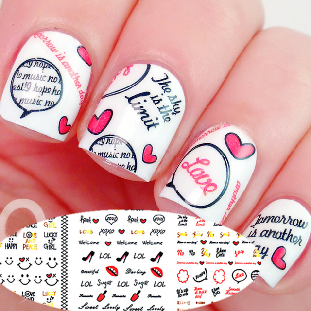 3 Sheet Smile Face Nail Water Decals Bowknot Lip Love Heart Cloud ...