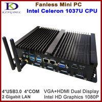 Kingdel 8GB RAM 128GB SSD Fanless Industrial Mini Desktop PC HTPC Celeron 1037U Gaming PC HDMI 1080P Gigabit rj45 LAN+COM+WIFI