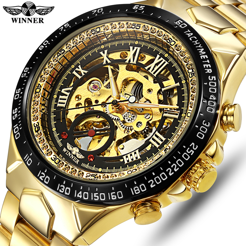 WINNER Men Automatic Mechanical Watch Fashion Skeleton Self Winding Watches Men's Luxury Golden Wristwatch Male Waterproof Clock