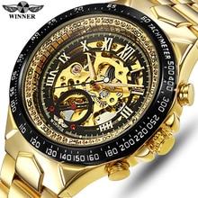 Мужские автоматические механические часы WINNER, модные часы с самообмоткой, мужские роскошные золотые наручные часы, мужские водонепроницаемые часы
