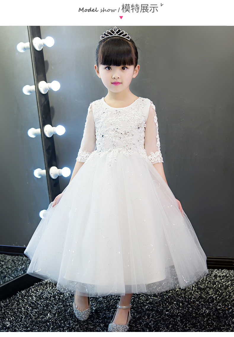 cc7068d9a39 Elegant Girl White Lace Wedding Dress Sequin Appliques Party Tulle Princess  Birthday Dress Half Sleeve First Communion Gown