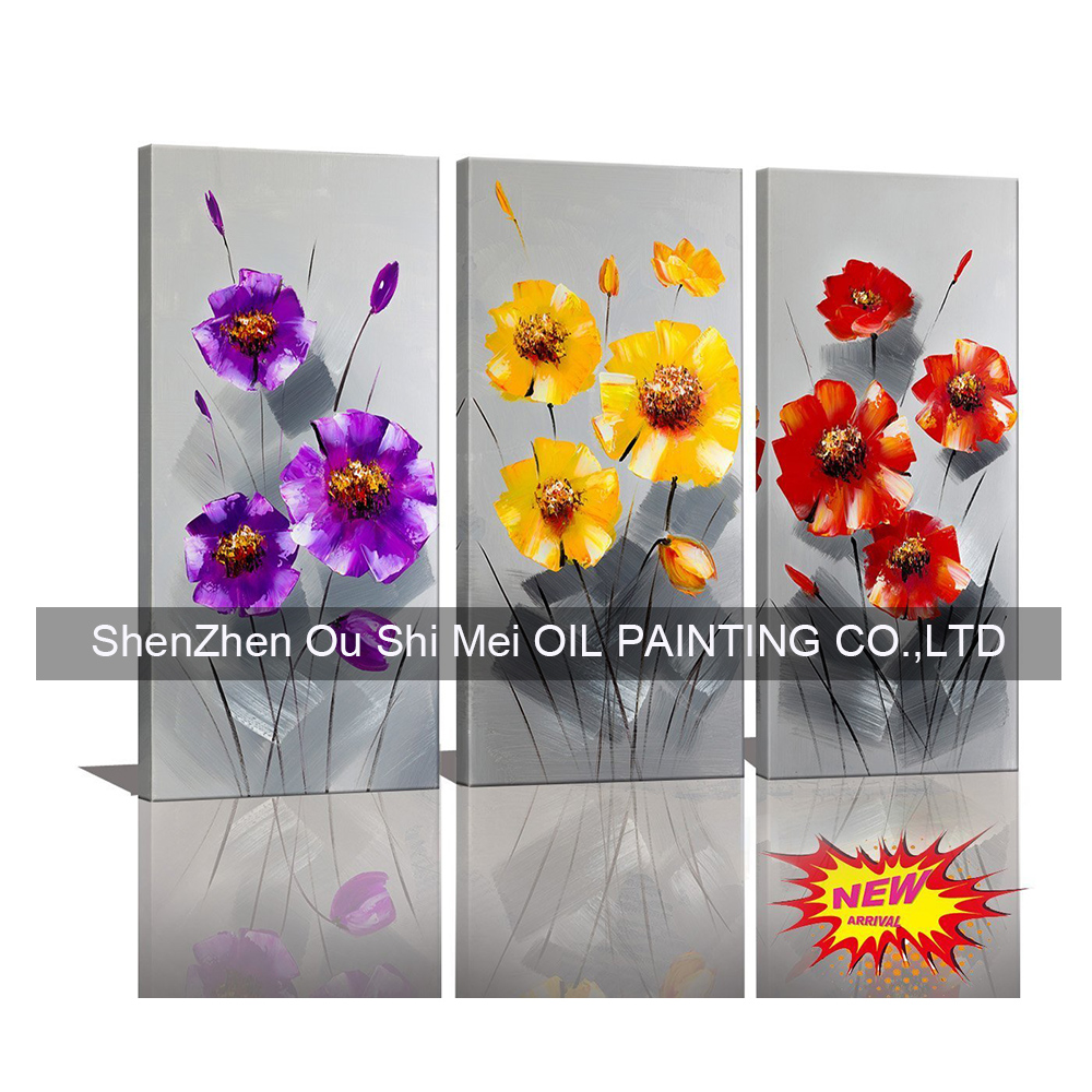 100% Hand Made Artworks Oil Painting on Canvas Wall Art Paintings For Living Room Decorations 3Pcs of Set Flowers Knife Painting