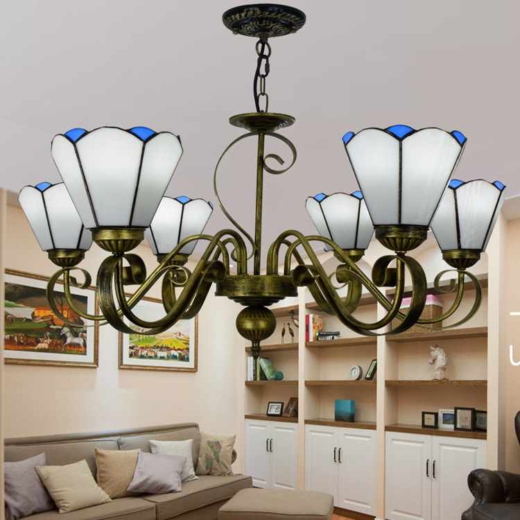 European Simple Mediterranean White Living Room Bedroom Dining Hall Chandelier Tiffany Color Glass Lobby Lighting 110