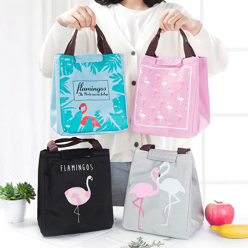 Portable Lunch Bag Flamingo Printed Handbag Travel Picnic School Insulated Cooler Bags TB Sale