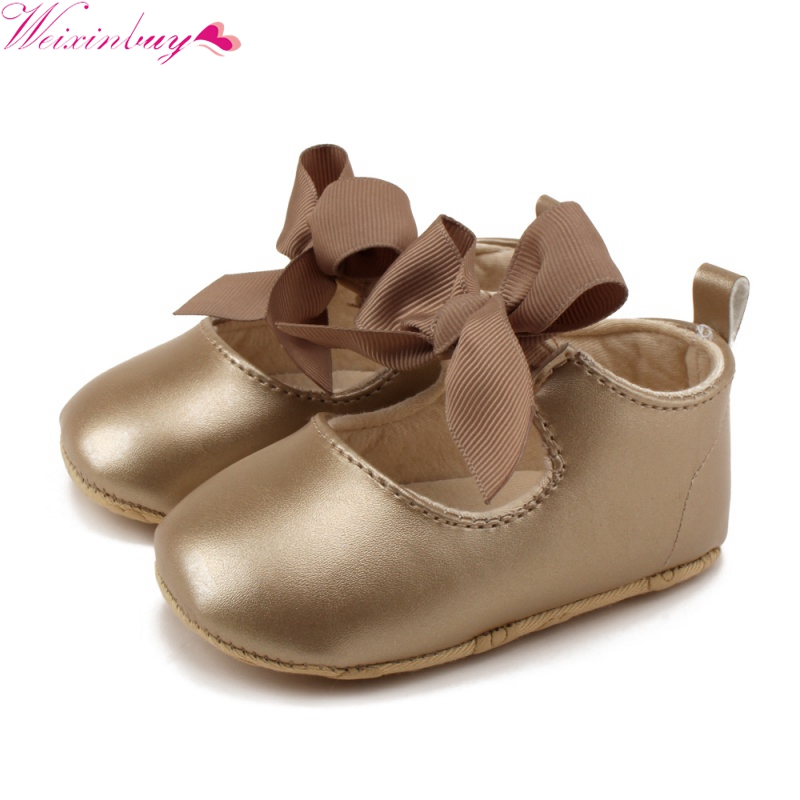0-18M Toddler Baby Girl Soft PU Princess Shoes Bow Bandage Infant Prewalker New Born Baby Shoes
