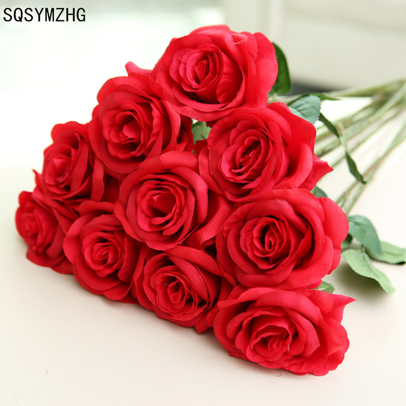 11pcs/lot Home Decorations For Wedding Party Or Birthday Clearance Price Fresh Bloom Rose Artificial Flowers Real Touch Rose Flowers New Fashion