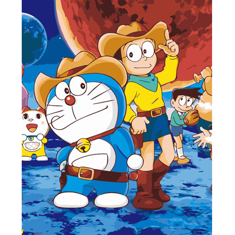 New Gifts Frameless Diy Oil Painting Doraemon Acrylic Paint Wall Painting Cartoon From The Digital Unique Home Decor