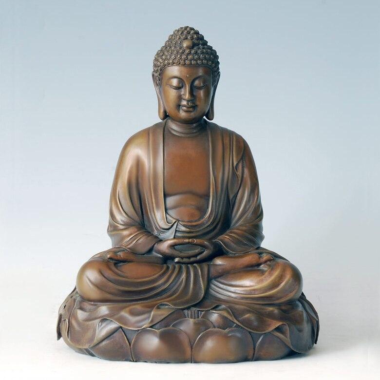 ATLIE Sculptură din bronz pur Amitayus Sculptura Amitabha Buddha Statuie din alamă religioasă Buddha Metal Artizanat