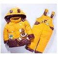 2016 Crianças do bebê das meninas dos meninos inverno quente para baixo paletó conjunto casaco + macacão roupa do bebê set crianças jaqueta grossa animal Cavalo j02