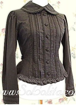 Lolita Brown LongSleeves Pleated Cotton Blouse