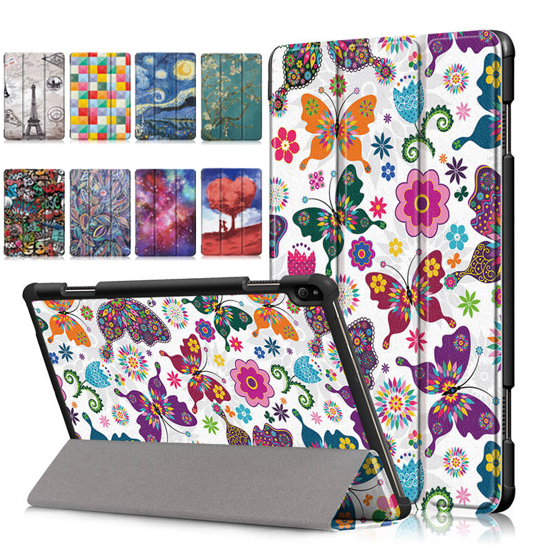 Butterfly Flower Funda Slim Magnetic Folding Cover Case for <font><b>Lenovo</b></font> Tab P10 TB-<font><b>X705F</b></font> TB-X705L Smart Case for <font><b>Lenovo</b></font> Tab P10 Case image