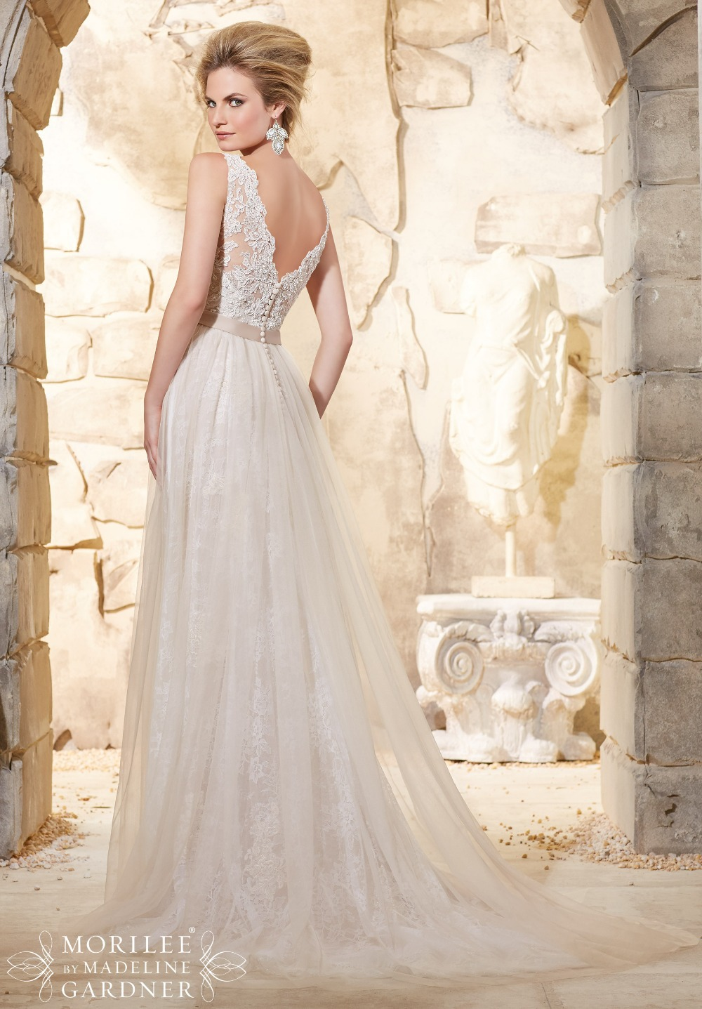 Vintage Stil Spitze v ausschnitt Brautkleid Open Back Sexy Braut ...