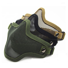 New Steel Metal Mesh Half Face Mask Tactical Protective Strike Paintball Helmet Field Protection Mask Facial Protection цены