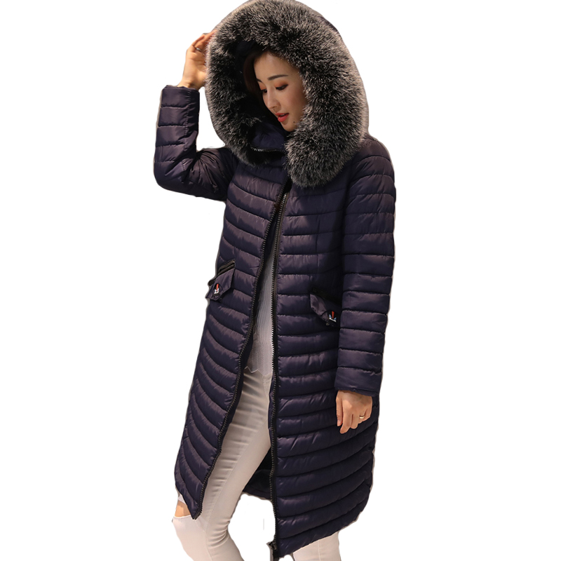 Solid fur collar outerwear for women winter jacket long hooded female coat parka padded high quality jaqueta feminina inverno xylxjq 2017 new winter jacket women parka fur collar hooded thickening cotton padded winter coat jaqueta feminina inverno hq077