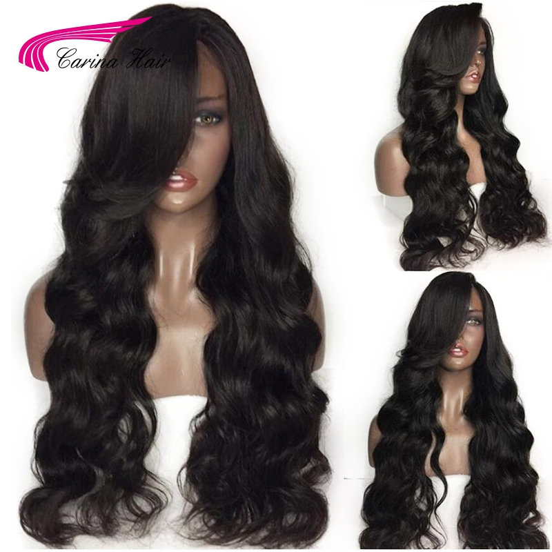 Wigs Loose-Wave Glueless Full-Lace Baby-Hair Human Women Carina with for Black Bleached