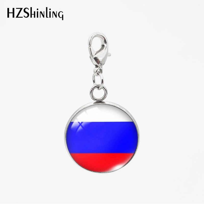 Пользовательский новый модный флаг страны США Россия круглая стеклянная подвеска из нержавеющей стали круглое очарование съемное ожерелье или брелок