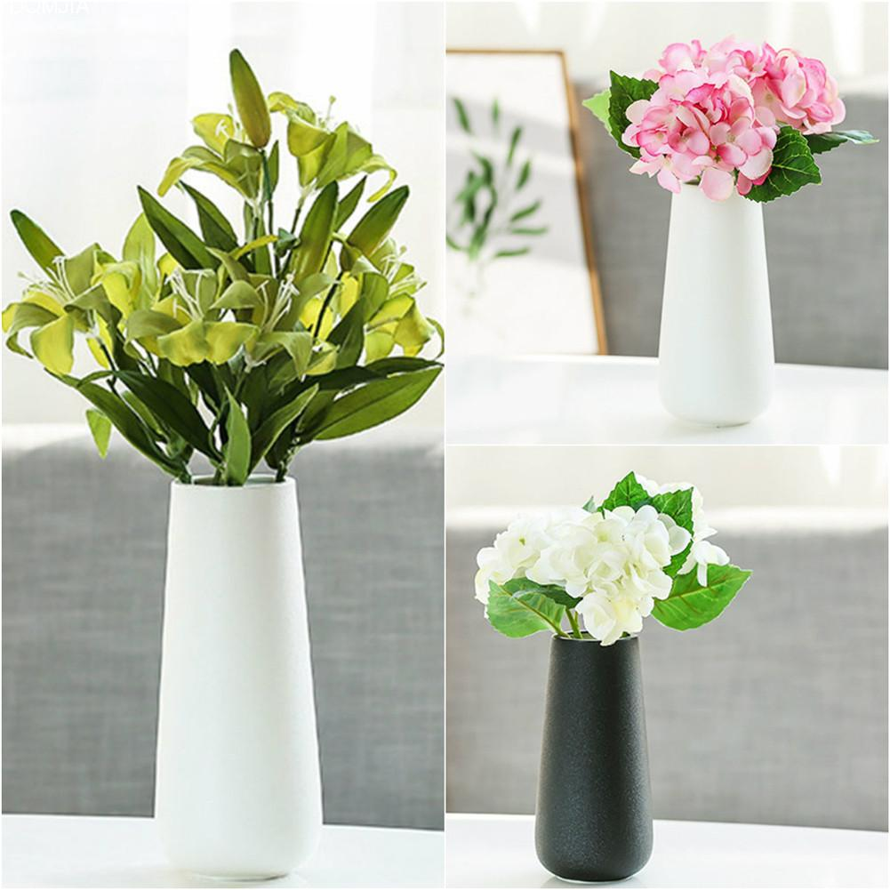 Scandinavian Style Ceramic Flower Vase Simple Pure Black White Color