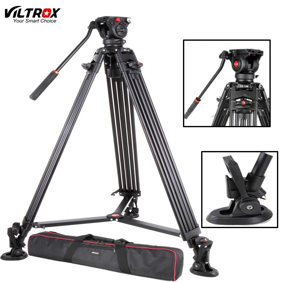 Viltrox VX-18M 74 pouce Professionnel En Aluminium Portable Caméscope Caméra Trépied + Fluide Tête Cylindrique Horsehoe Pour Photo Vidéo Charger 10 kg