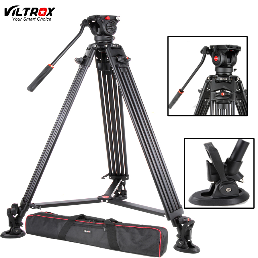 Viltrox VX-18M 74 pouce Professionnel Portable En Aluminium Caméscope Caméra Trépied + Fluide Pan Head Fer à Cheval Pour Vidéo Photo Charge 10 kg