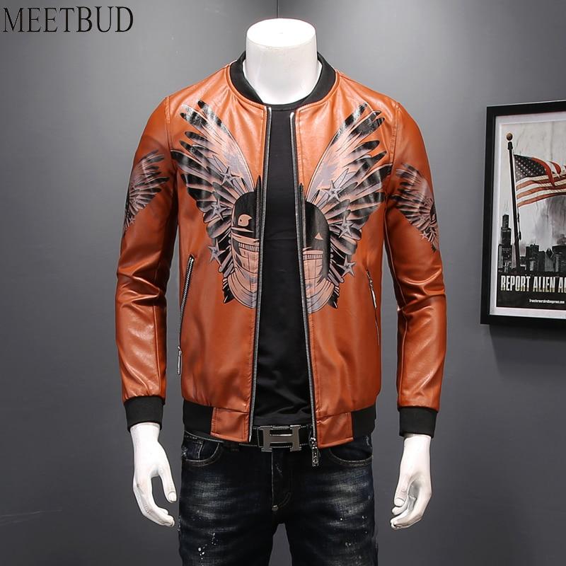 MEETBUD Brand men PU leather jacket men coats imitation leather slim fit baseball uniform spring casual jacket plus size 5XL