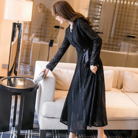 2019 new women's spring tide black long paragraph underwear skirt fall and winter lace dress and ankle dress