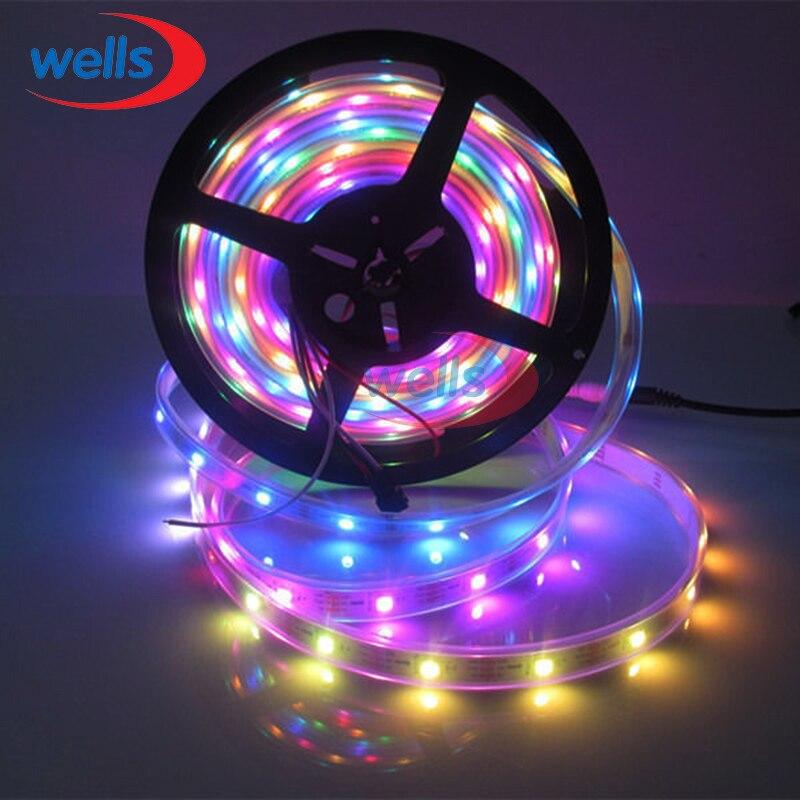 Tira led de 1m/4m/5m, cor completa, ws2812b, controle por pixel inteligente, 30/60/144leds/m individualmente endereçável 5v à prova d' água/não-impermeável