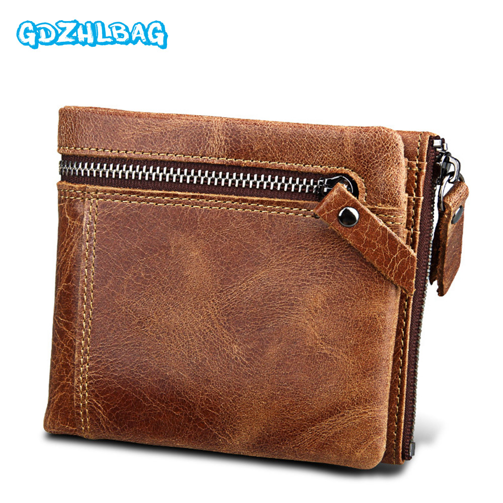 GDZHLBAG RFID Men Wallets Zipper Coin Bag Famous Brand Genuine Leather Wallet Money Purses Luxury Big Capacity Wallet Carteira