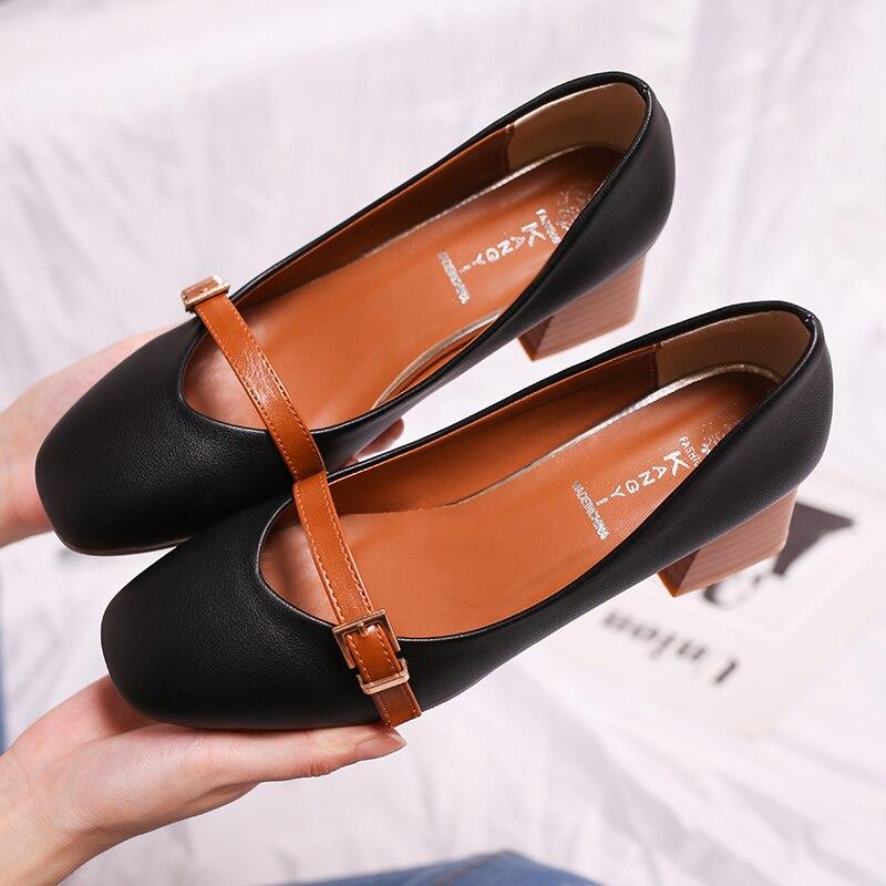 Mujeres Bombas Talones Zapatos Mujer Eleganet Grueso Talón Casual - Zapatos de mujer - foto 3