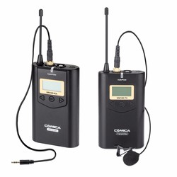 COMICA CVM-WM100 UHF48 Channels 100m Working Distance Omni-directional Wireless Lavalier Microphone for Camera iphone cell phone