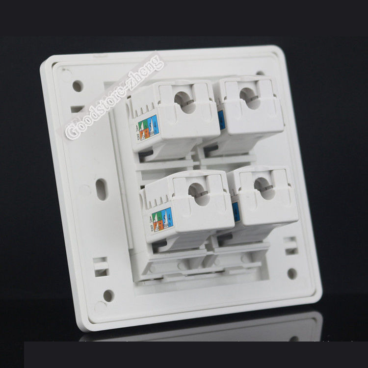 Wall Plate 4 Ports Rj45 Cat6 Modular Network Ethernet Lan