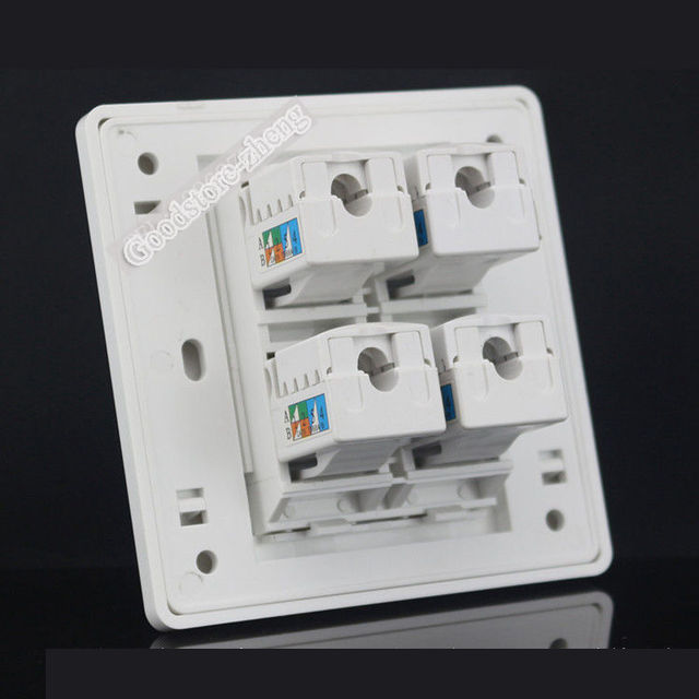 Wall Plate 4 Ports Rj45 Cat6 Modular Network Ethernet Lan
