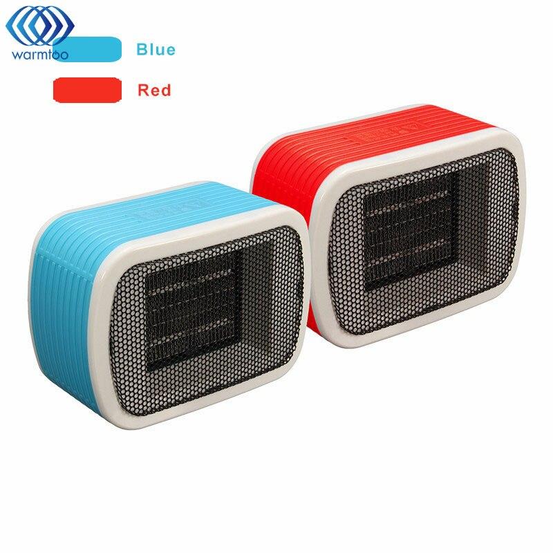 Mini PTC Ceramic Space Heaters Electric Desktop Fan Heater 220V 500W For Warm Winter 2 Color Blue, Red