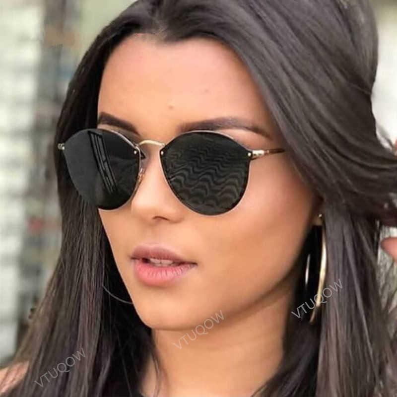 94f6ea363f 2019 gafas de sol redondas de lujo de marca de diseñador CatEye Retro sin  montura gafas